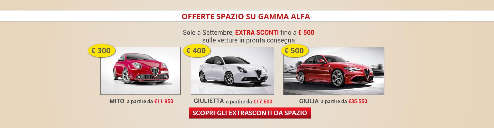 Extra sconti su gamma Alfa Mito Giulietta Giulia