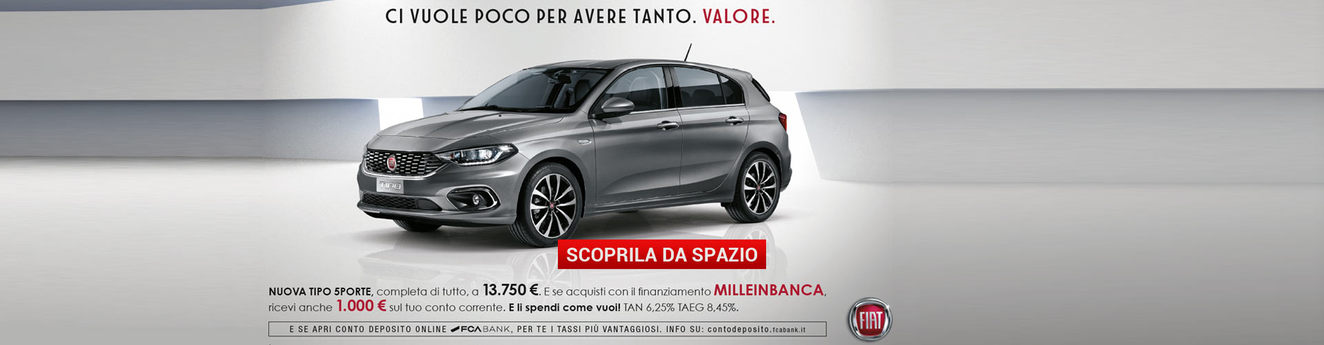 Fiat Tipo finanziamento Milleinbanca