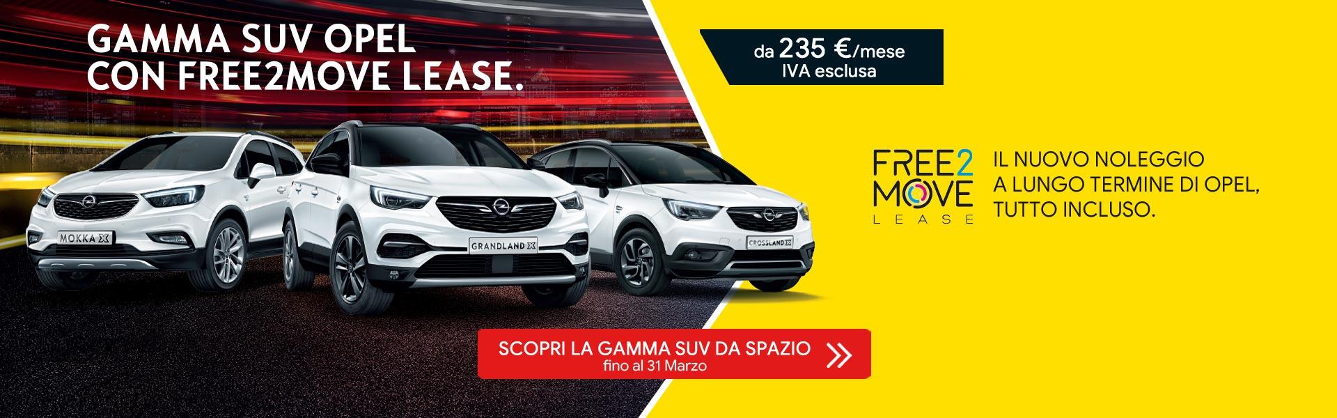 Gamma SUV Opel con finanziamento Free2Move Lease